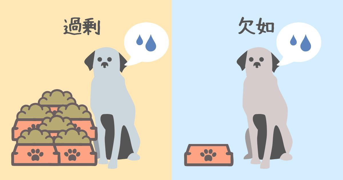 エサの多い犬とエサの少ない犬